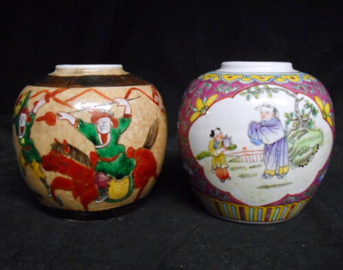 2 Antique Chinese Tea Jars Nice Decoration