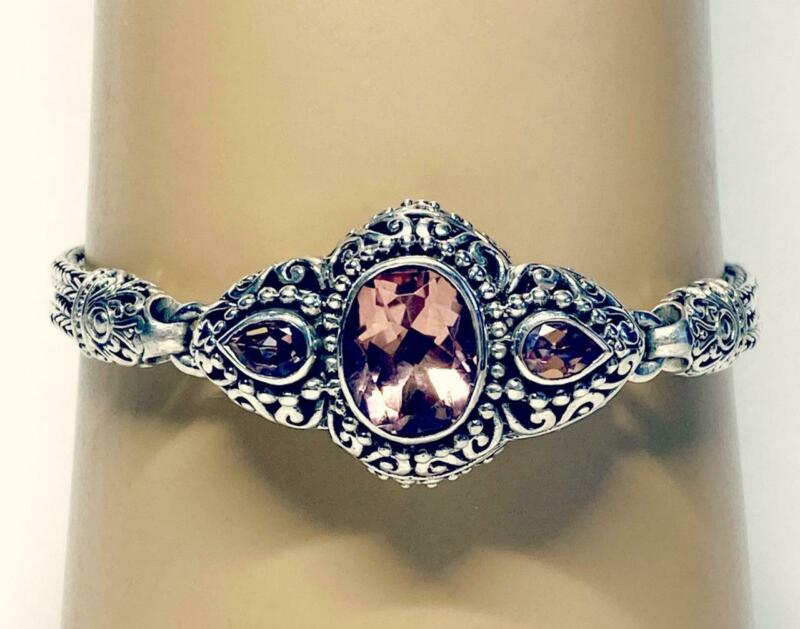 "Beautiful and Ornate Sarda Sterling Silver Salmon Pink Quartz Bracelet 8 1/4"""
