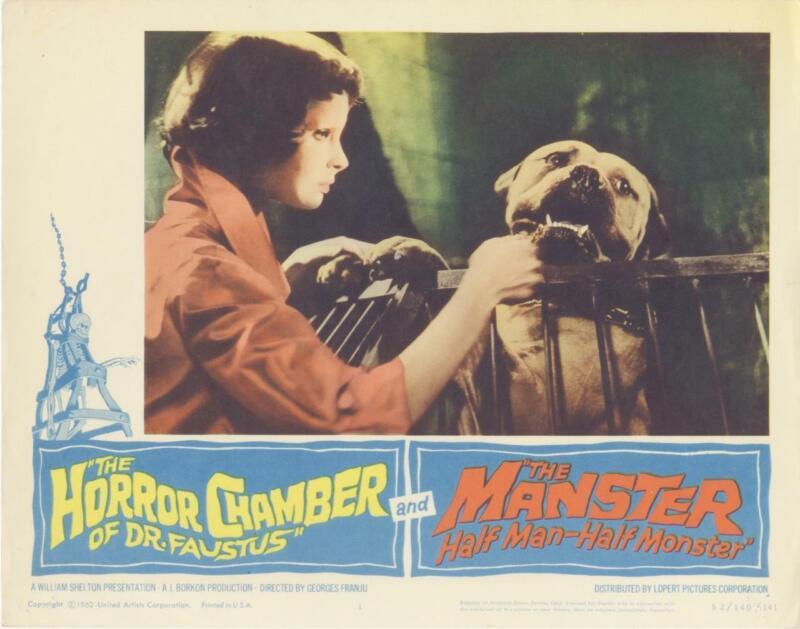 """HORROR CHAMBER OF DR FAUSTUS""-ORIGINAL LOBBY CARD-EDITH SCOB-DOG"