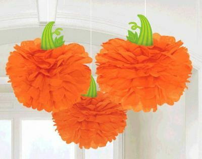 Halloween Fall Pumpkin 3 Hanging Fluffies Orange Party - Orange Party Decorations