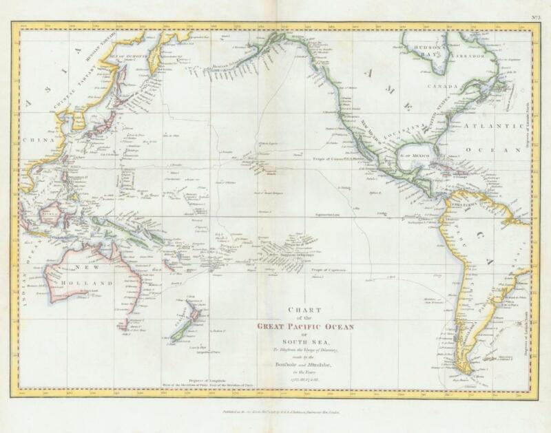 1798 - Antique Map PACIFIC Australia Guinea China Mexico California Perouse (M12