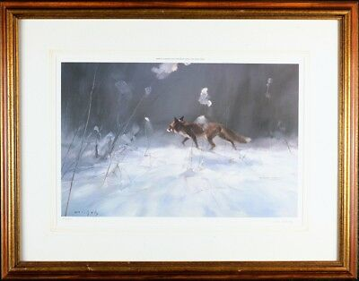 - Framed Print 'Winter Fox' by Manfred Schatz, Pencil  Signed & Numbered Art Print