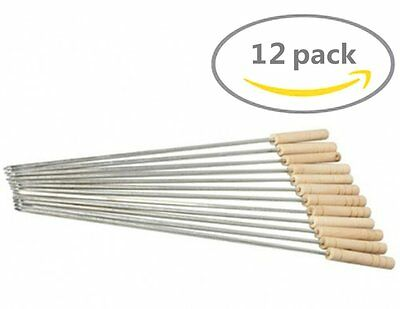 12 Extention Rod Smores Skewers Hot Dog Fork Marshmallow Roasting Sticks Camping ()