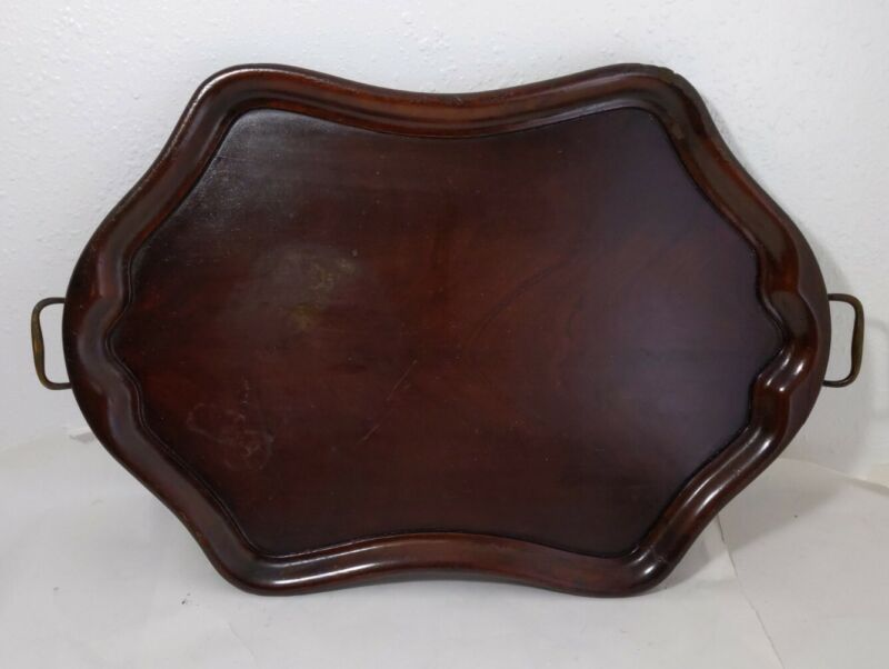 Vintage/Antique Chinese Wooden Serving Tray - Carved Wood Asian Brass Handles