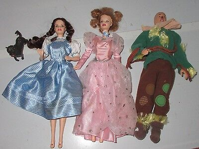 Mattel Barbie Wizard of Oz Dolls & Toto Used Played With 4pc Lot Set No Boxes (Wizard Of Oz Barbie Set)