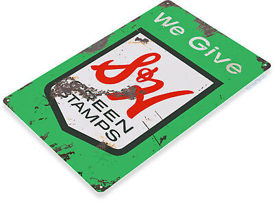 TIN SIGN S & H Green Stamps Metal Décor Art Kitchen Store Shop A601 Stamp Metal Sign