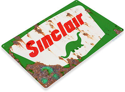 """TIN SIGN """"Sinclair Gas Rust"""" Dino Oil Metal Station Garage Auto Shop Shed  A609"""