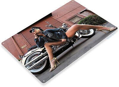 Low Rider Sexy Pinup Girl Hot Rod Auto Garage Bike Decor Large Metal Tin Sign