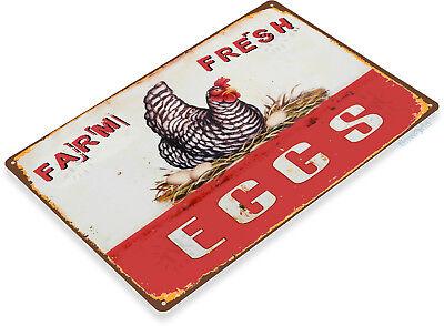 TIN SIGN Eggs Farm Fresh Kitchen Cottage Farm Rustic Metal Décor B983