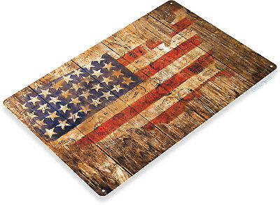 TIN SIGN B547 America Rustic Postal Stamp Flag USA Metal Decor Stamp Metal Sign