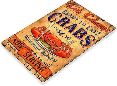 TIN SIGN B200 Serving Crab Seafood Tin Metal Sign Kitchen Cottage Farm Decor](Farm Decorations)