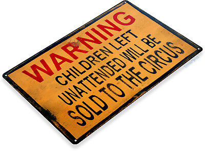 "Art Tin - TIN SIGN ""Warning Children Circus""  Art Halloween Decor Kitchen Store Bar A670"