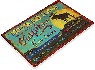 TIN SIGN Moose Bay Metal Décor Wall Art Bar Store Shop Bar Cave - Moose Tin Sign