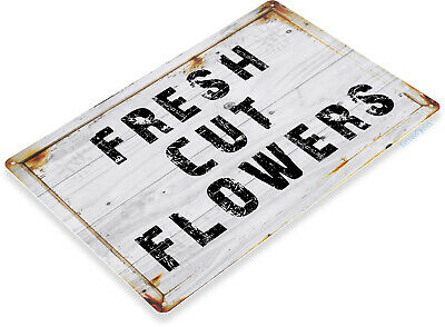 Fresh Cut Flowers Sign, Rustic Flower Garden Sign, Cottage Farm Tin Sign C807