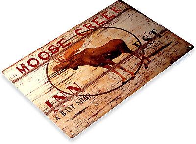 TIN SIGN Moose Creek Inn Lodge Cabin Bar Hotel Rustic Cabin Sign Decor B325 - Moose Tin Sign