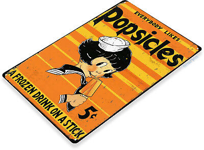 TIN SIGN Popsicles Kitchen Retro Rustic Ice Cream Pop Sign Candy Store A148](Retro Candy Store)
