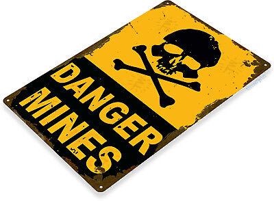 "TIN SIGN ""Danger Mines"" Metal Decor Wall Art Garage Bones Skull A318"