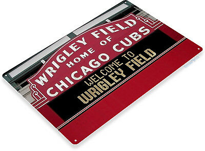 TIN SIGN Wrigley Field Chicago Cubs Baseball Field Sign A192