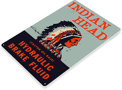 TIN SIGN B887 Indian Head Hydraulic Fluid Gas Oil Garage Auto Shop Rustic Metal