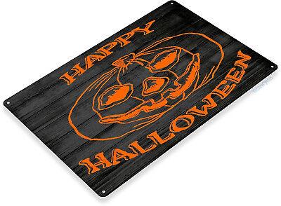 TIN SIGN B438 Happy Halloween Holiday Pumpkin Rustic Halloween Sign Decor (Happy Halloween Sign)