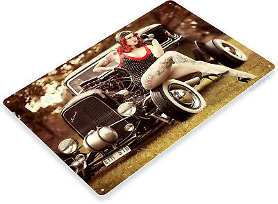 TIN SIGN Red Light Pin-up Girl Metal Décor Hot Rod Garage Auto Shop Cave A159 - Pin Up Lights