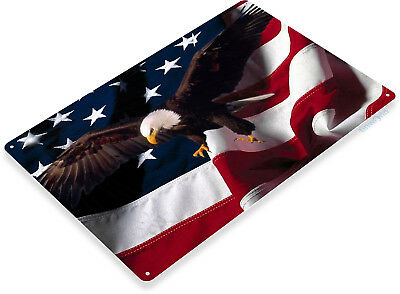 "(TIN SIGN ""Eagle Wings"" Flag Metal Decor Wall Art Patriotic Cave A351)"