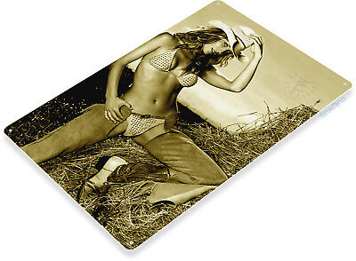 - TIN SIGN Hay Stack Metal Décor Art Pin-up Cowgirl Chaps Farm Girl Bar Pub A803