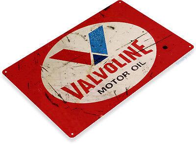 "TIN SIGN ""Valvoline Motor Oil Red"" Medal Decor Wall Art Gas Garage Shop Bar A669"