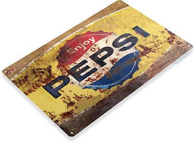 TIN SIGN Pepsi Rusty Retro Metal Décor Wall Art Soda Store Shop A564](Art Shops)