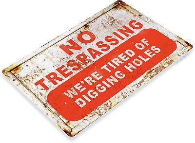 TIN SIGN No Trespassing Rustic Kitchen Cottage Cabin Farm Lake Beach House -