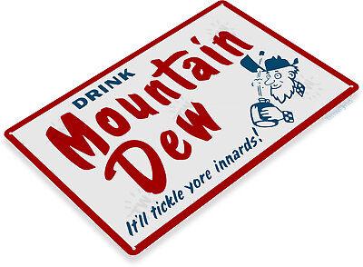 "TIN SIGN ""Mountain Dew"" Metal Decor Wall Art Kitchen Store Shop A514"