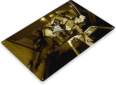 TIN SIGN Dismount Pin-Up Hot Rod Girl Garage Metal Décor B980