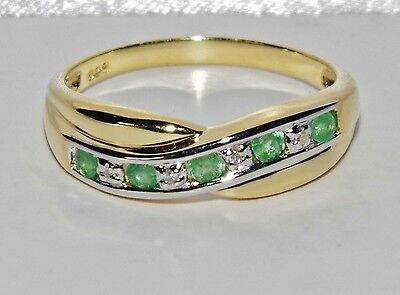 9ct Yellow Gold & Silver Emerald & Diamond Crossover Eternity Ring size R