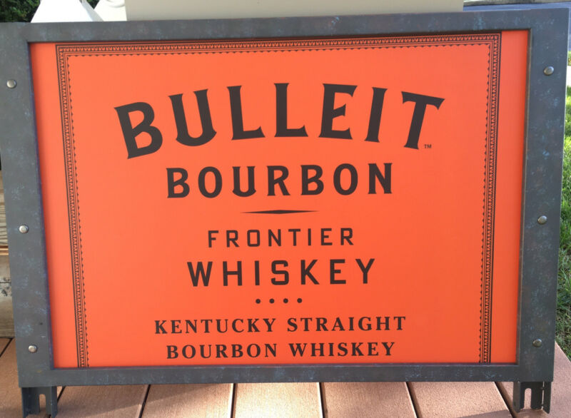 BULLEIT BOURBON FRONTIER WHISKEY LARGE METAL DISPLAY SIGN MAN CAVE DECOR! RARE!