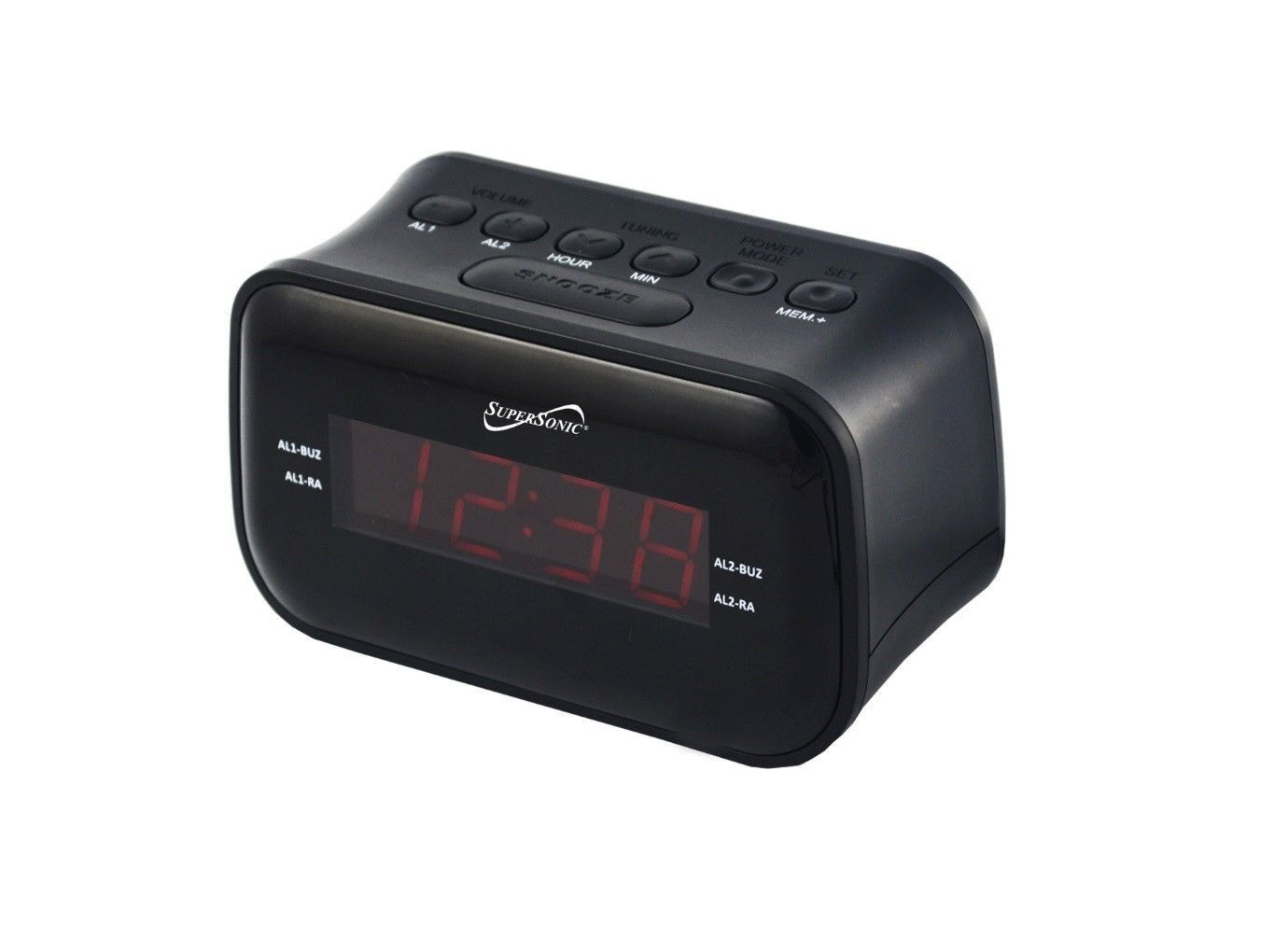 Supersonic SC-378BT Bluetooth Clock Radio Display/AM/FM Wireless Connectivity