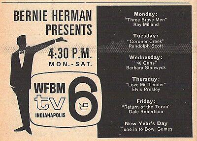 1965 WFBM tv ad ~ BERNIE HERMAN PRESENTS in Indianapolis,Indiana