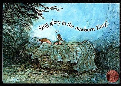 Christmas Baby Jesus Bird Singing PSALM 98:1  RELIGIOUS Christmas Greeting Card