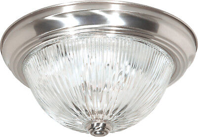"""Nuvo 3 Light 15"""" Flush Mount Clear Ribbed Glass"""