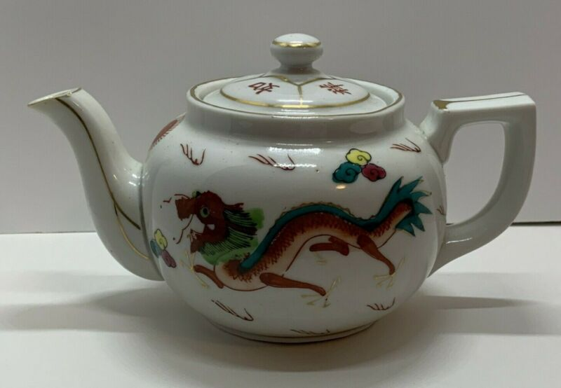 Chinese Asian Restaurant Ware Red Dragon Teapot Red Stamp Vintage