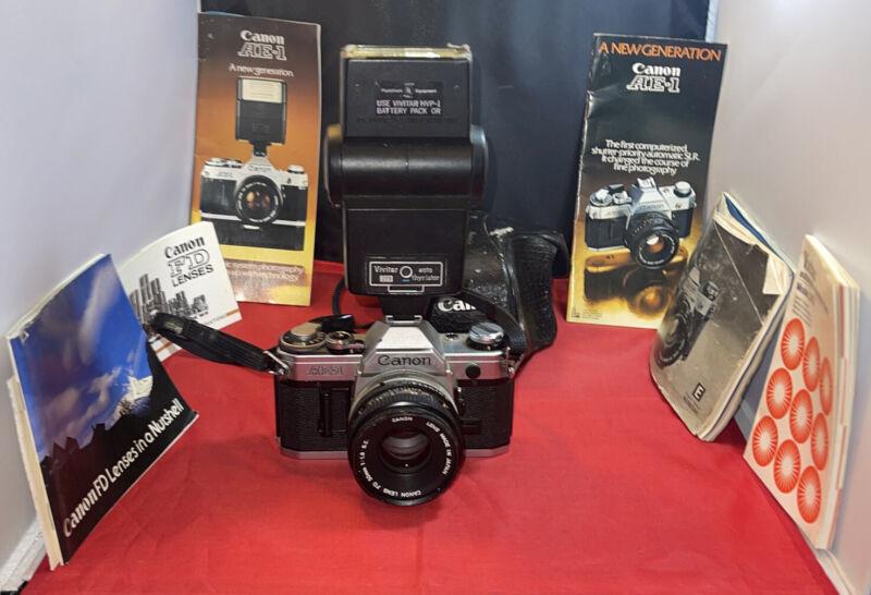 Vintage Canon AE-1 Camera,Vivatar Flash, Canon FD 50mm Lens, Books, Strap, Case