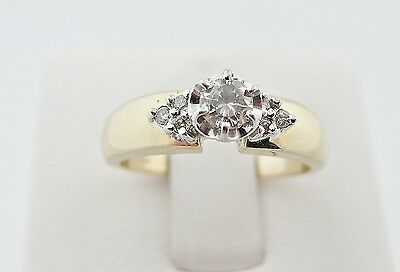 1/4 .26 Diamond Wedding Anniversary Engagement Ring 14k Yellow Gold Size 7