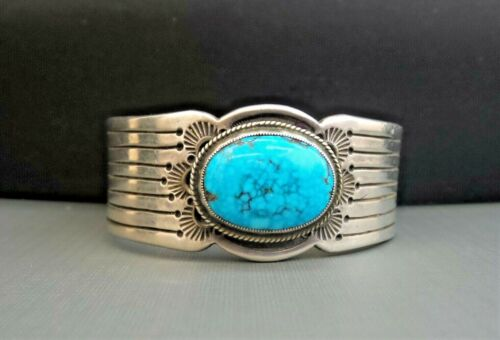 HEAVY Sterling Silver NAVAJO Turquoise Cuff Bracelet Signed RG 78 grams
