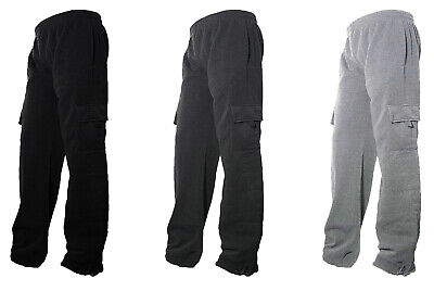 Mens Fleece Lined Cargo Sweat Pants Track Pants With bottom Drawstring L-2XL
