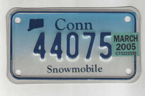 2005 CONNECTICUT SNOWMOBILE License Plate Tag 44075