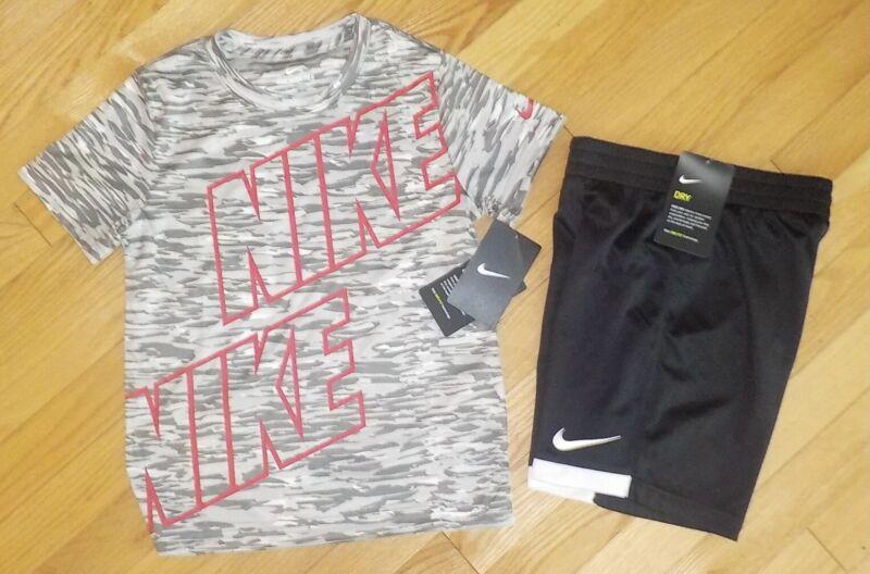Nike Little Boys T-Shirt Short Sleeve Gray Tee & Black Shorts 7 NWT
