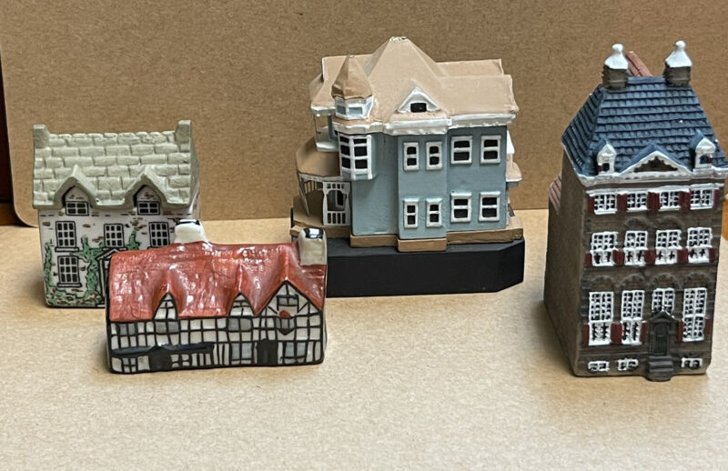 4 Various Dollhouse Miniature Houses and Cottages Porcelain Resin Wood
