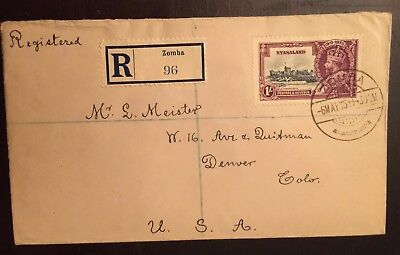 1935 Silver Jubilee Nyasaland Scott #50 Zomba-Denver registered First Day cover