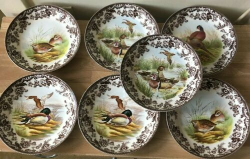 Lovely Set of 7 Spode Woodland Pasta Bowls
