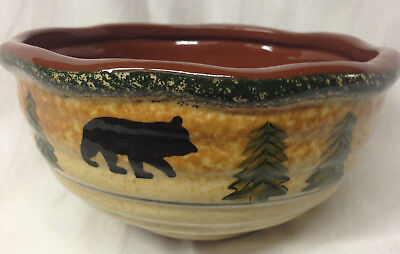 HIEND ACCENTS BEAR SOUP OR CEREAL BOWL 24 OZ HAND PAINTED TERRA COTTA TREES