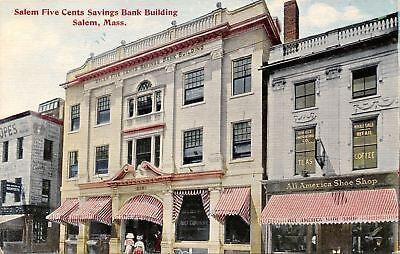 Salem MA~Five Cents Savings Bank Building~All American Shoe Shop~Importers c1907 ()